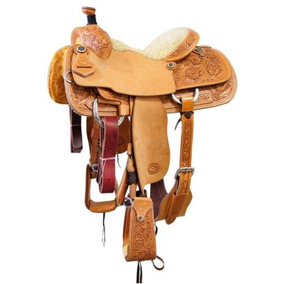 Calf Roper Saddle with Tan Suede Stitched Seat