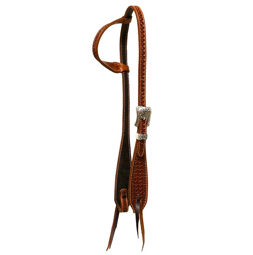 Basket Weave Stamped Slide Ear Headstall By Cactus