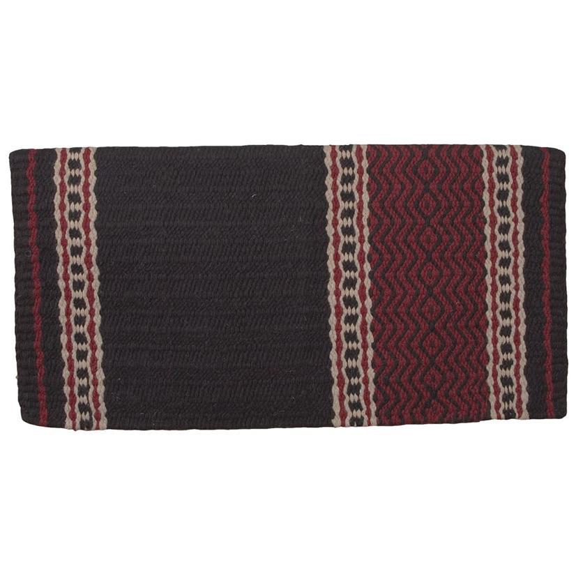 Mustang New Zealand Wool Saddle Blanket BLACK/BURG