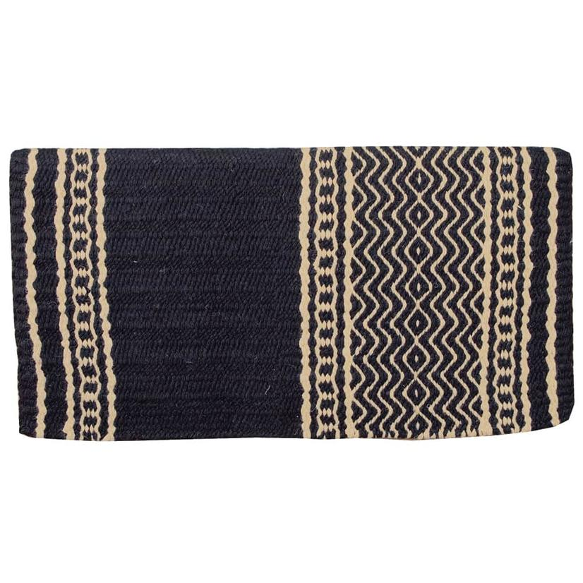 Mustang New Zealand Wool Saddle Blanket BLACK/CREAM