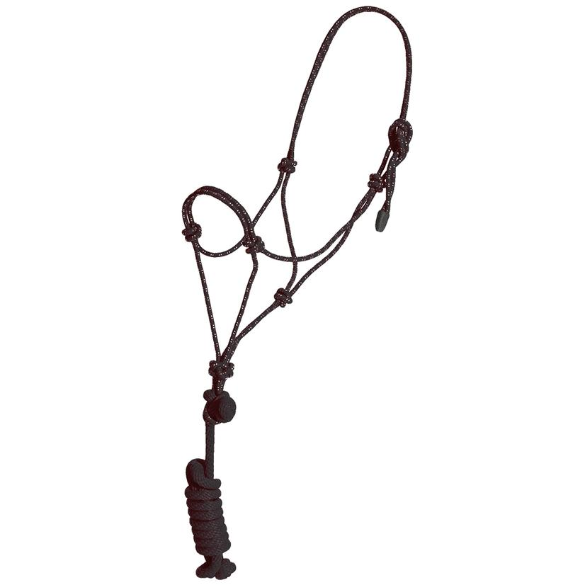 Mustang Yearling Rope Halter BLACK/WHITE
