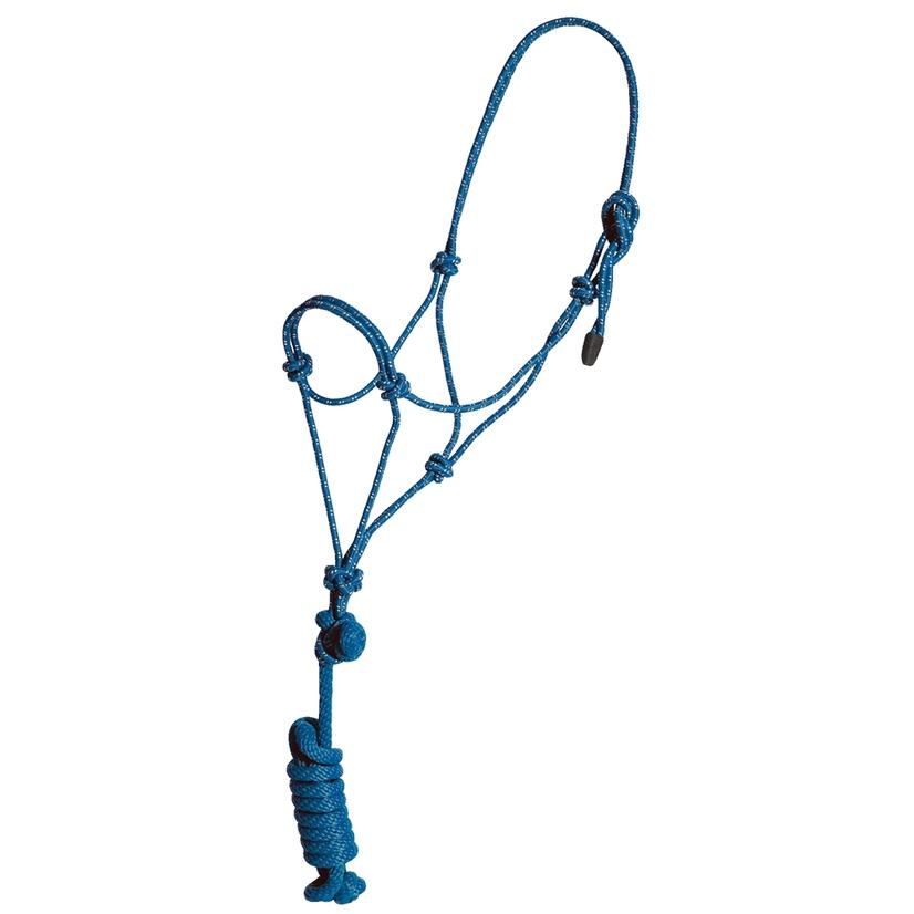 Mustang Yearling Rope Halter BLUE/WHITE