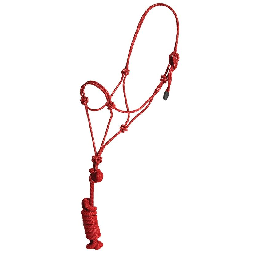 Mustang Yearling Rope Halter RED/WHITE