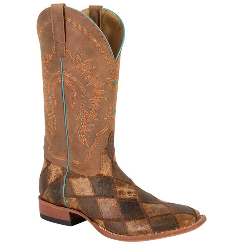 Horse Power Mens Crazy Train Patchwork Cowboy Boots