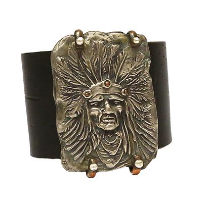 Love Tokens White Copper Indian Chief With Leather Cuff
