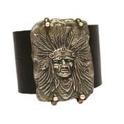 White Copper Indian Chief with Leather Cuff