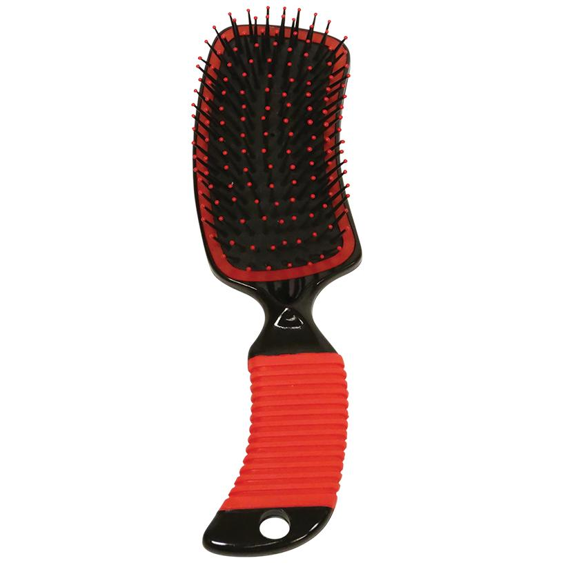 Curved Handle Mane & Tail Brush RED