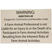 TEXAS EQUINE LIABILITY SIGN