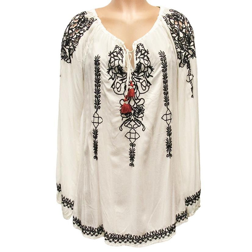 Biya Womens White Geneva Blouse With Black Embroidery