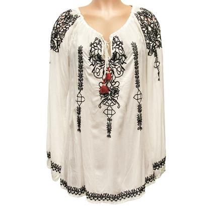 White Geneva Blouse with Black Embroidery