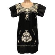 Puebla Manta Dress By Nativa In Black And Beige