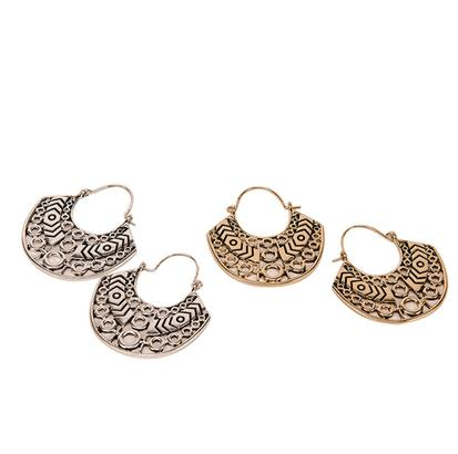 STT Loop Earrings in Silver or Gold with Aztec Design