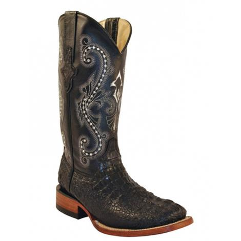 Black Crocodile Print Womens Boots
