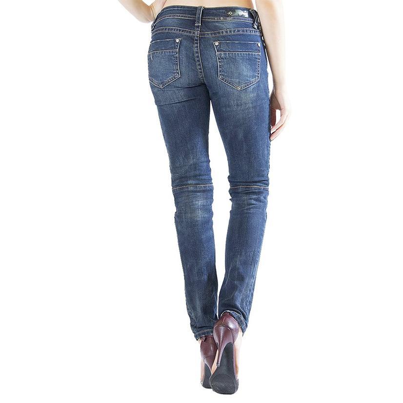 Grace In La Womens Moto Skinny Jeans