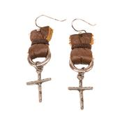 Lucky Lou Southwest Leather and Cross Earrings