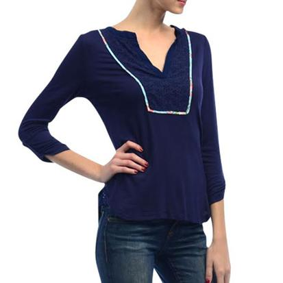 Navy Blue Womens Bib Beauty Three Quarter Sleeve Cotton Blouse