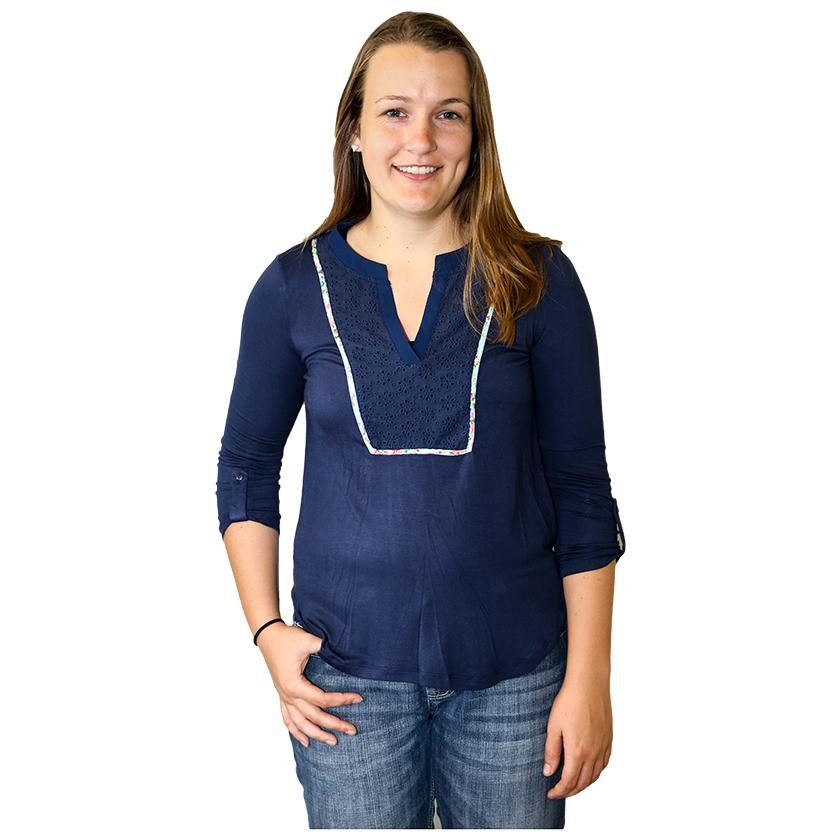 Navy Blue Womens Bib Beauty Three Quarter Sleeve Cotton Blouse ROYAL
