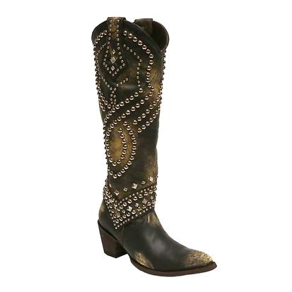 Old Gringo Brassy Black and Studded Belinda Womens Boot