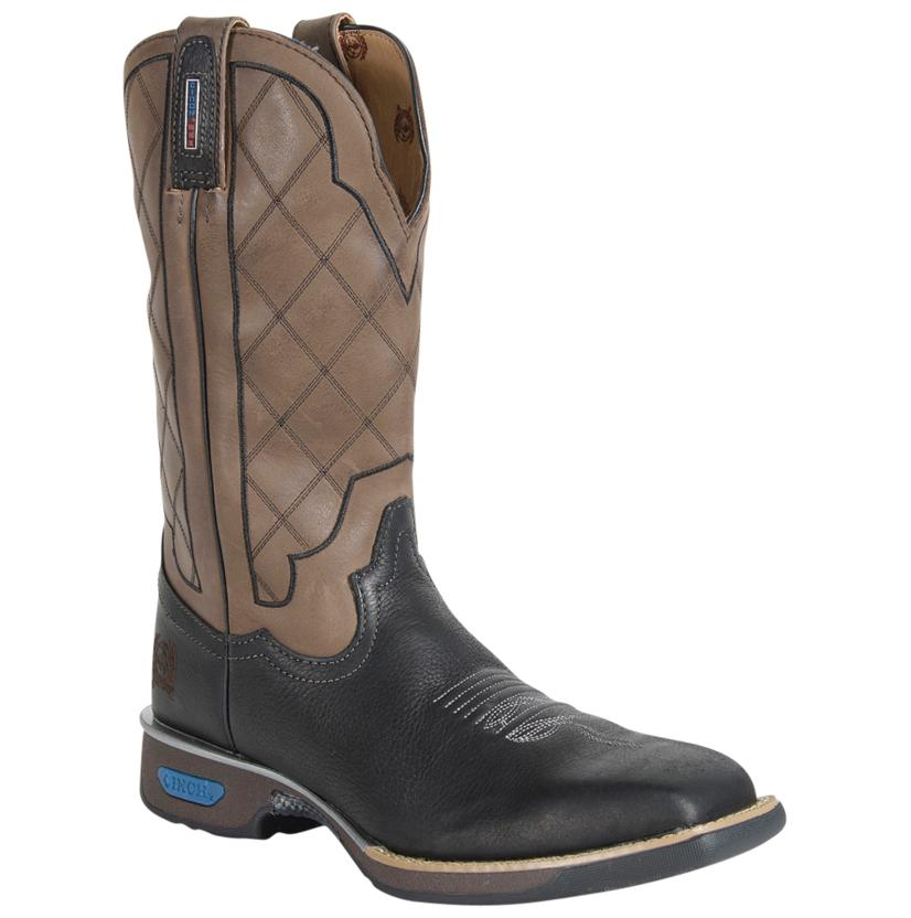 Cinch Black/Tan Rubber Sole Work Boots