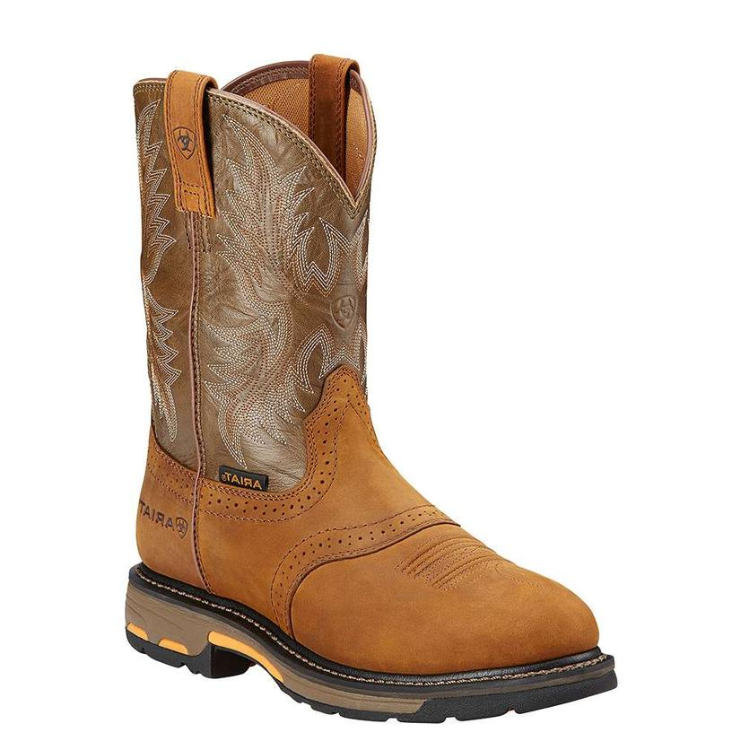 Ariat Workhog Pull On Men's Aged Bark & Army Green Work Boots
