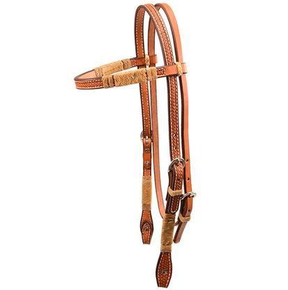 Light Oiled Leather Browband Headstall with Braided Rawhide