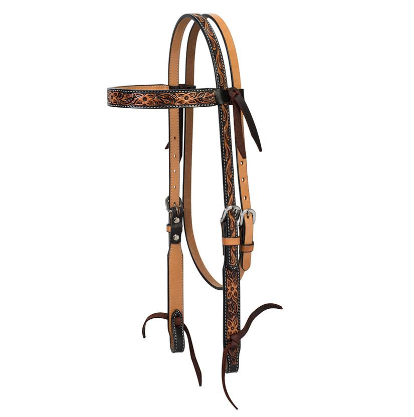 Floral Tooled Browband Headstall Turquoise Cross