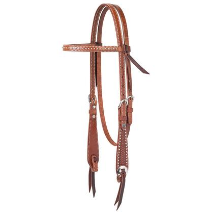 Basketweave Tooled Browband Headstall Turquoise Cross