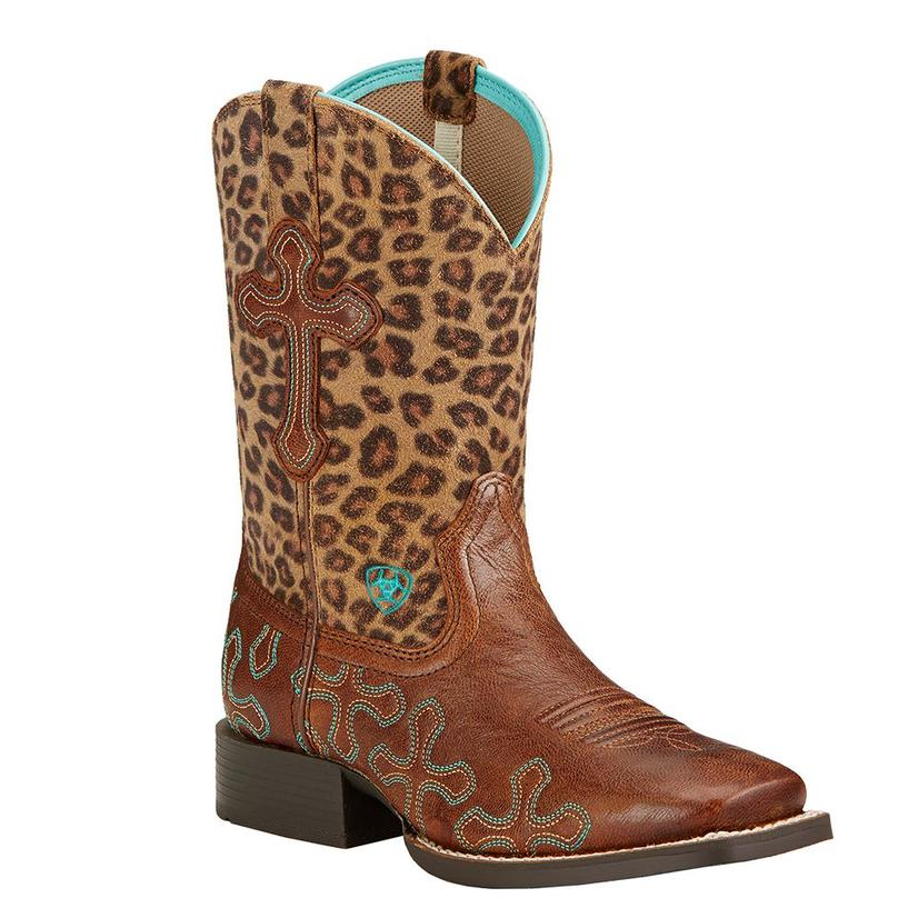 Ariat Youth's Crossroads Boot Wood/Leopard