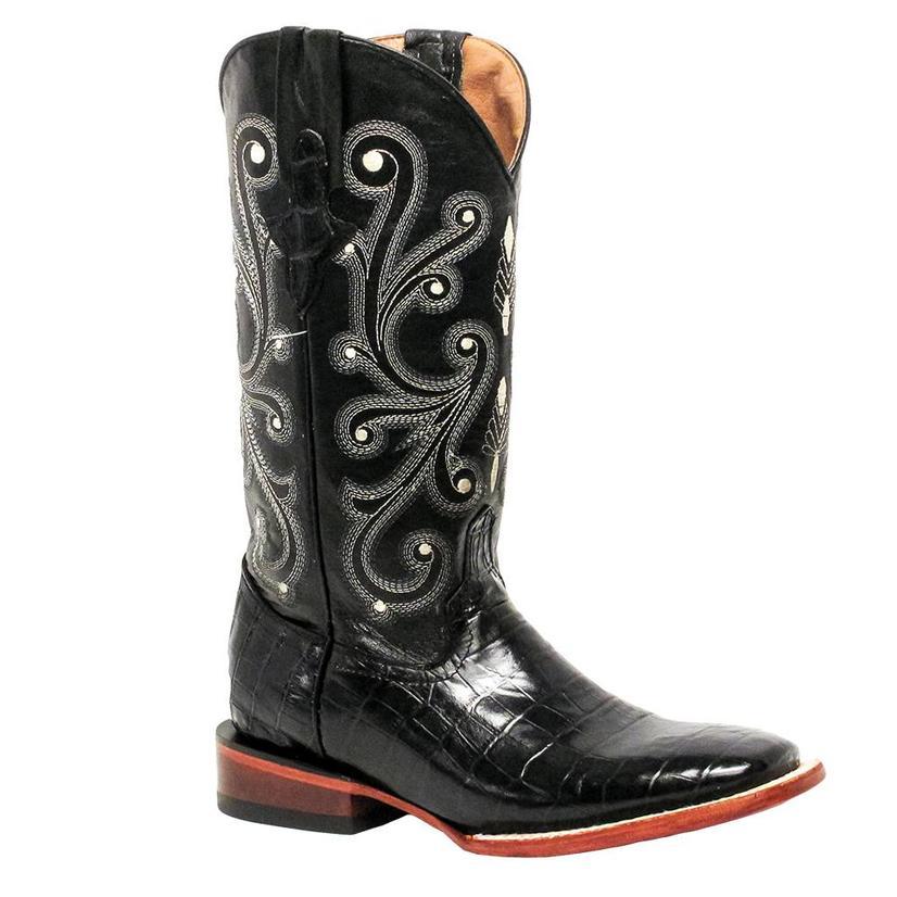Ferrini Womens Black Gator Belly Boots