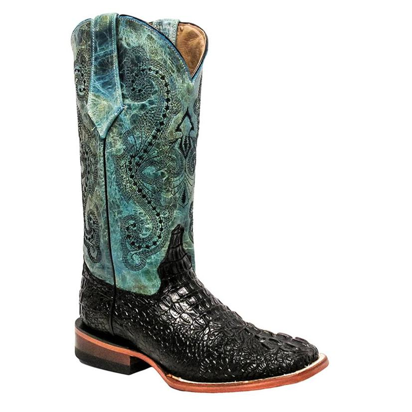 Ferrini Brown and Teal Crocodile with Teal Accent Womens Boots