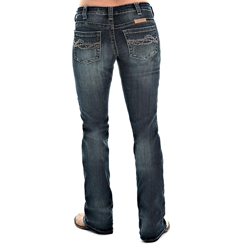 Cowgirl Tuff Womens Don ' T Fence Me In Dark Jeans