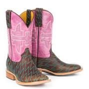 Pink and Brown Lightning Bolt Womens Boots by Tin Haul