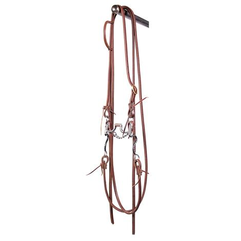 STT Bridle w/Black Satin Hinged Port Bit with Split Reins