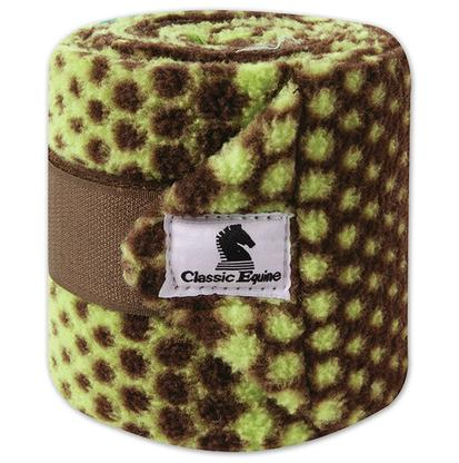 Classic Equine Polo Wraps CHOC/LIME_DOTS