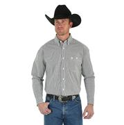 Wrangler Mens George Strait Long Sleeve Shirt - Black/White