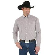 Wrangler Mens George Strait Long Sleeve Shirt Red & White