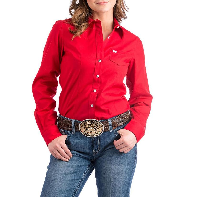 Cinch Womens Long Sleeve Shirt - Red