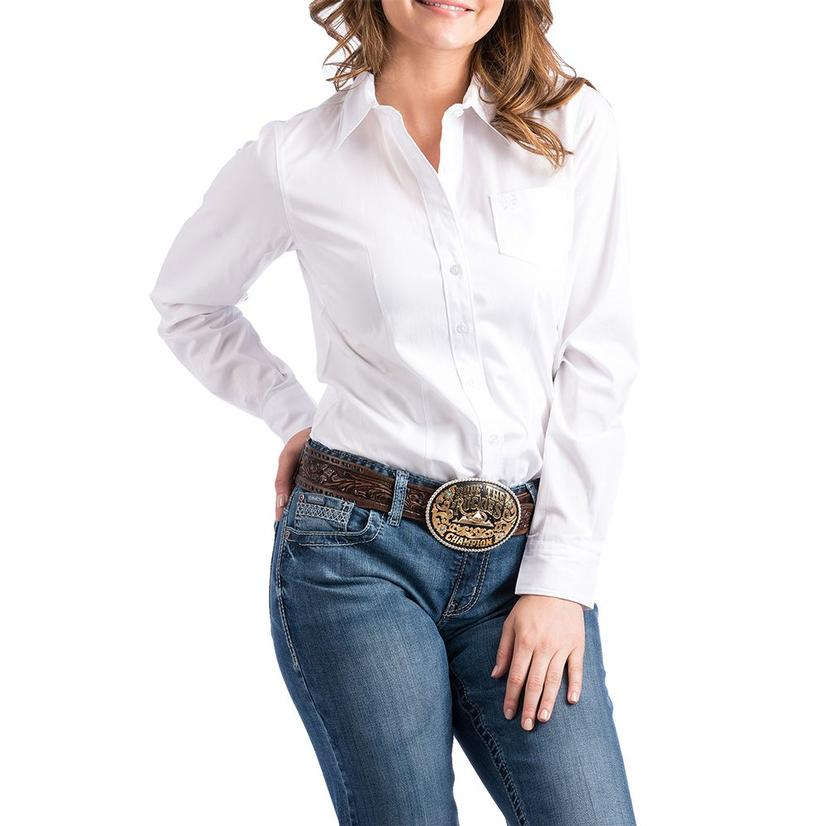 Cinch Long Sleeve Womens Shirt - White