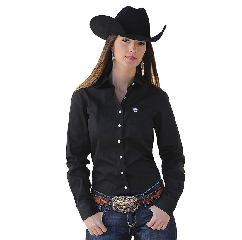 Cinch Long Sleeve Womens Shirt - Black