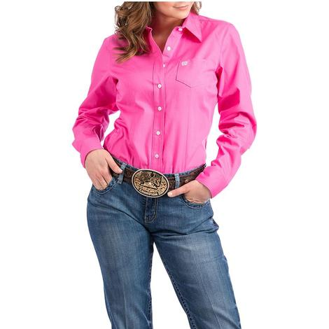 Cinch Womens Pink Long Sleeve Shirt