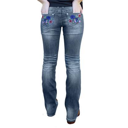 Grace in LA Womens Asian Floral Bootcut Jeans