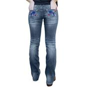 Grace In La's Women's Asian Floral Bootcut Jeans