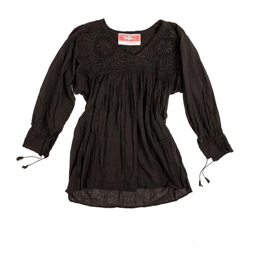 Nativa Womens Blusa Blanca Blouse BLACK