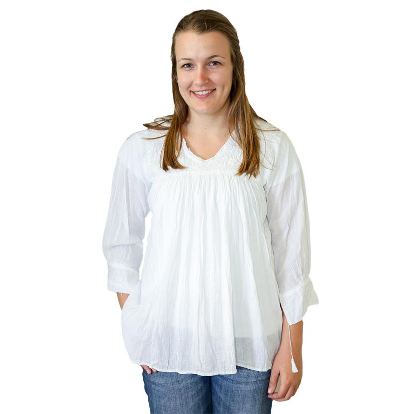 Nativa Womens Blusa Blanca Blouse WHITE