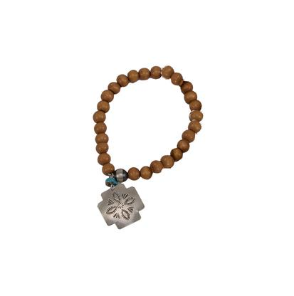 Chelsea Collette Saddlewood Heart Cross Charm Bracelet