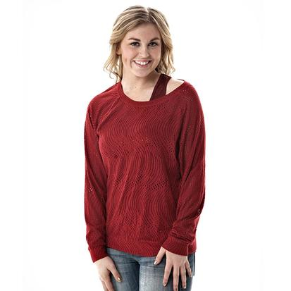 Cowgirl Tuff Womens Swirl Lace Tee - Red