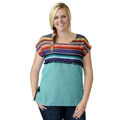 Silverado Womens Serape with Whirlwind - Turquoise/Purple