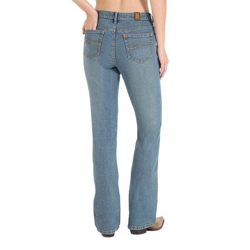 Wrangler Womens Aura Mid Rise Slimming Boot Cut Jean - Mid Stone