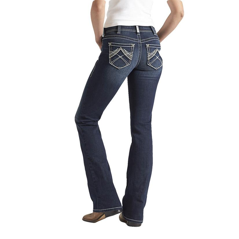 Ariat Womens R.E.A.L.Mid Rise Boot Cut Whipstitch Ocean Jeans