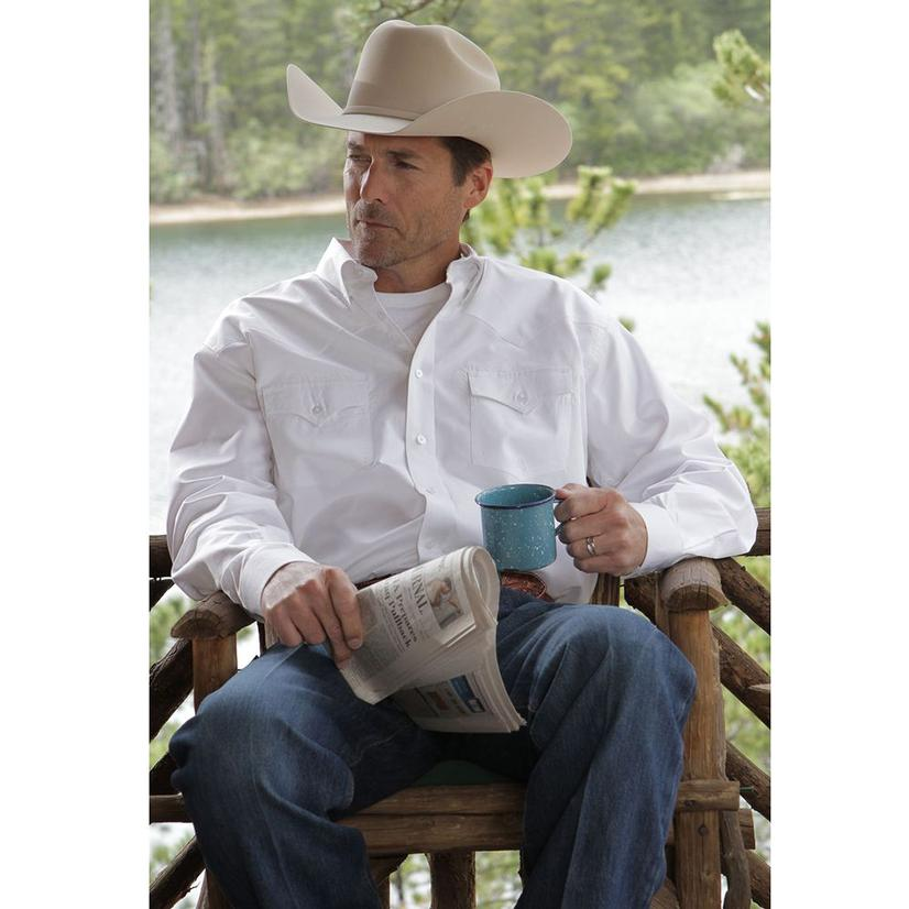 Miller Ranch Mens Western Shirt - White